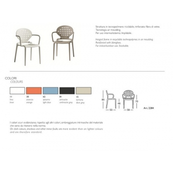 Plastic stackable chair Colette with Scab Design armrests