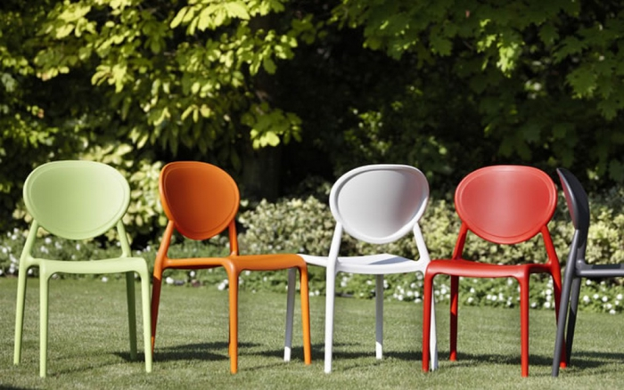 Plastic stackable chair by Scab Design Gio