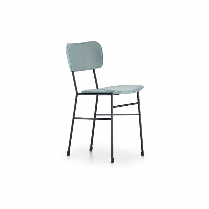 Midj chair with four legs in steel with upholstered seat and back