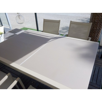 Touch extendable table set and Maiorca chairs with Talenti armrests for outdoor