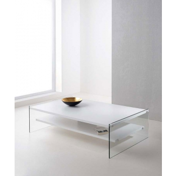 Maxim table by Pezzani with laminated shelves sides in transparent tempered glass