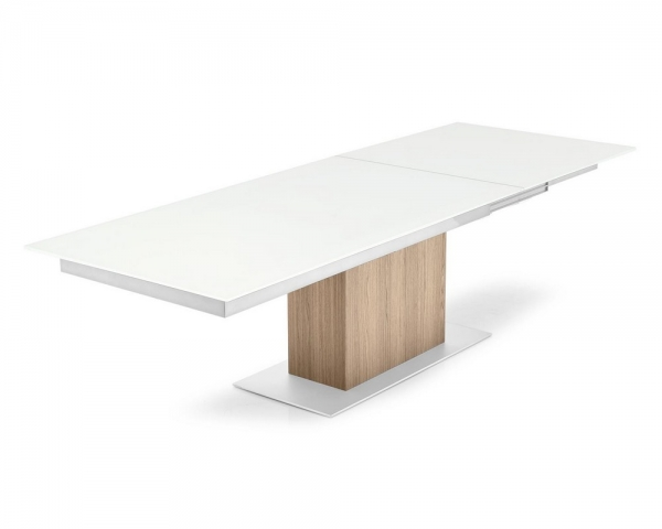 Synchro Calligaris Extendable Table With Glass Top Metal Structure