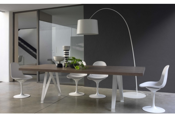 Fixed table 200 cm Bontempi Logan with top in wood