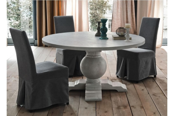 Fixed round table New York hardwood Altacorte