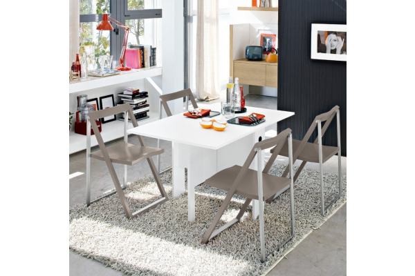 Table Space Connubia par Calligaris extensible en mélamine blanche
